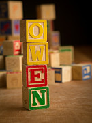 Wood Blocks Posters - OWEN - Alphabet Blocks Poster by Edward Fielding
