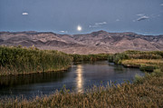 Eastern Sierra Posters - Owens River Moonrise Poster by Cat Connor