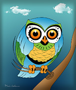 Caricature Framed Prints - Owl 2 Framed Print by Mark Ashkenazi