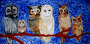 Group Of Birds Painting Posters - Owl A Watch Poster by Amy Sorrell