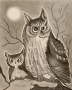 Baby Bird Drawings Framed Prints - Owl and Moon Framed Print by Jalal Gilani