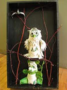 Recycled Sculpture Posters - Owl and the Panda  Poster by Alfred Ng
