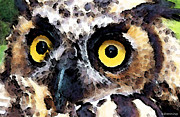 Owl Digital Art Metal Prints - Owl Art - Who Metal Print by Sharon Cummings