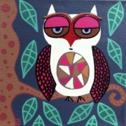 Folk Paintings - Owl at Midnight by Kerri Ambrosino GALLERY