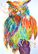 Yellow Beak Painting Metal Prints - Owl Be Seeing You Metal Print by Beverley Harper Tinsley