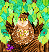 Owls Drawings - Owl Family Tree by Nick Gustafson