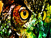 Catherine Mixed Media Prints - Owl Focus Print by Catherine Harms