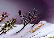 Snowy Night Digital Art - Owl  by Gonzalo Garcia G