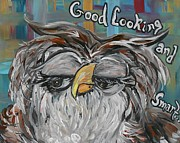 Education Mixed Media Framed Prints - OWL - Goodlooking and Smart Framed Print by Eloise Schneider