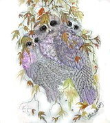 Autumn Sculpture Prints - Owl Hugs Print by Arlene Delahenty