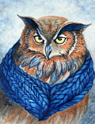 Great-horned Owls Paintings - Owl in a cowl by Janine Riley