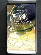 Animal Sculpture Mixed Media Posters - Owl In A Shoe Box Poster by Alfred Ng