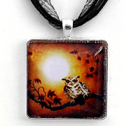 Autumn Jewelry - Owl in Maple Leaves Pendant by Laura Iverson
