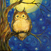 Blue  Yellow Paintings - Owl in Starry Night by Peggy Wilson