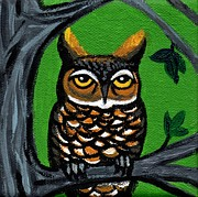 Avian Greeting Cards Posters - Owl In Tree With Green Background Poster by Genevieve Esson