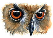 Eagle Painting Framed Prints - Owl Framed Print by Karen  Loughridge KLArt