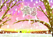 Vin Kitayama Metal Prints - Owl Leaf 2 snow love Metal Print by Vin Kitayama