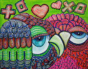 Graffiti Painting Posters - Owl Love Poster by Laura Barbosa