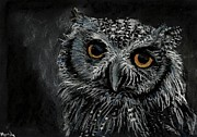 Dark Eyes Pastels Prints - Owl Print by Marily Valkijainen