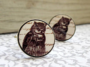 Nature Inspired Jewelry - Owl Mens Cufflinks by Rony Bank