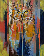 Impasto Oil Paintings - Owl by Michael Creese