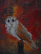 Owl Print Prints - Owl Mixed Media Painting Print by Laura  Carter