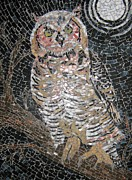 Birds Glass Art Prints - Owl Print by Monique Sarfity