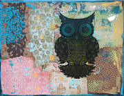 Lino Mixed Media Posters - Owl of Style Poster by Kyle Wood