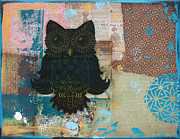 Lino Mixed Media Posters - Owl of Wisdom Poster by Kyle Wood