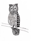 Original Pen And Ink Drawing Prints - Owl on a Branch Print by Paula Dickerhoff
