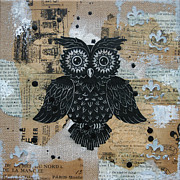 Lino Cut Paintings - Owl on Burlap2 by Kyle Wood