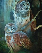 Bird Of Prey Art Paintings - Owl Pair by Tonja  Sell