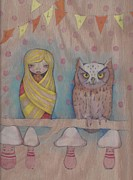 Original Owl Drawing Prints - Owl Party Print by Jennifer Kosharek