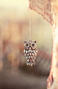 Silver Necklace Art - Owl Spirit by Trish Mistric