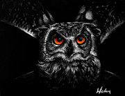 Black Bird.flying Art Painting Posters - Owl Poster by Tylir Wisdom
