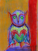 Colorful Owl Paintings - Owl Understand by Loyda Herrera