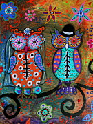Wedding Art - Owl Wedding Dia De Los Muertos by Pristine Cartera Turkus