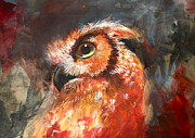 Mixed Media Drawings Prints - Owl - Wise Ears  Print by Sharlena Wood