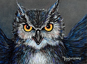 Owl Pastels Framed Prints - Owlish Framed Print by Tanja Ware