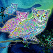 Northern Lights Mixed Media Posters - Owls at Midnight - Square format Poster by Teresa Ascone