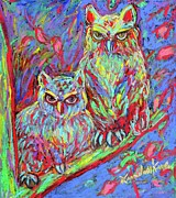 Owl Pastels Framed Prints - Owls Electric Framed Print by Kendall Kessler