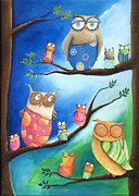 Nursery Room Art Prints Paintings - Owls School by Sonja Mengkowski