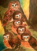 Owl Pastels Framed Prints - Owls Whoo? Framed Print by Sara Junker