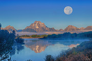 Limited Edition Framed Prints - Oxbow Bend Moonset Limited Edition Framed Print by Greg Norrell