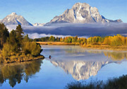 Grand Teton National Park Mixed Media Posters - Oxbow Bend Poster by Renee Skiba