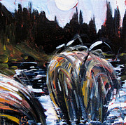 Lake Michigan Painting Originals - Oxbow Night by Charlie Spear