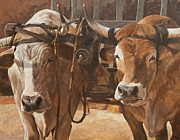 Garden Scene Paintings - Oxen With Yoke by Anke Classen