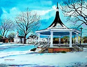Millbury Ma Metal Prints - Oxford Bandstand Metal Print by Scott Nelson