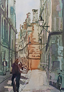 University Of Illinois Painting Originals - Oxford Lane by Jenny Armitage