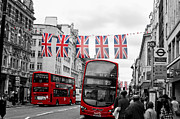 London Shopping Posters - Oxford Street Flags Poster by Matt Malloy